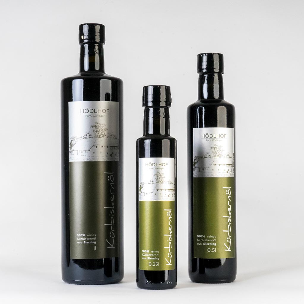 Kürbiskernöl alle Größen Flasche vom Hödlhof - Wolfinger